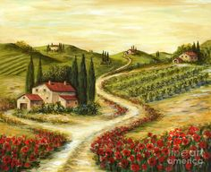 Poppy Wall Art - Painting - Tuscan Road With Poppies by Marilyn Dunlap Canvas Wall Art, Canvas Prints, Art Prints, Landscape Art, Landscape Paintings, Tuscan Art, Fine Art Amerika, Art Gallery, Poppies Painting
