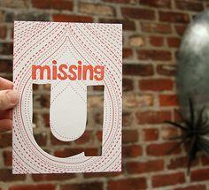 letterpress card missing u die cut. $4.00, via Etsy.