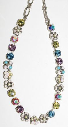 MARIANA NECKLACE COCO: blue, pink, white, a/b, green stones in silver – European Accent
