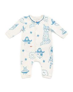 Cotton+Fox-Print+Coverall,+White,+Size+3-12+Months+by+Little+Marc+Jacobs+at+Neiman+Marcus.