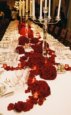 Billionaire Club / karen cox. The Glamorous Life.  ..Romantic Red tablescape