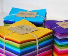 Wool Felt Squares  100 Wool Felt Bundle Pack  62 by CraftyWoolFelt