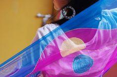 #pañuelo #solidario Soma pink en www.luxeli.com seda, pintado a mano