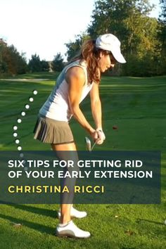 PGA and LPGA Class A Instructor Christina Ricci demonstrates the causes and fixes for the common early extension swing fault. #golf #golftip #golfswing #golflessons #womensgolf Golf Score, Golf Chipping, Golf Instruction, Golf Putting, Golf Exercises, Golf Training, Lpga, Christina Ricci, Golf Lessons