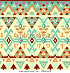 Seamless Vector Tribal Pattern. Geometrical Ethnic Print Background: Mix of Rhombus, Triangles and Stripes - stock vector