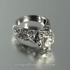The ENCHANTED PRINCESS White Sapphire 14K gold by WingedLion (Think Garnet)