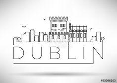 """Descargue el vector libre de derechos """"Linear Dublin City Silhouette with Typographic Design"""" creado por avniunsal al precio más bajo en Fotolia.com. Explore nuestro económico banco de imágenes para encontrar el vector perfecto para sus proyectos de marketing."""