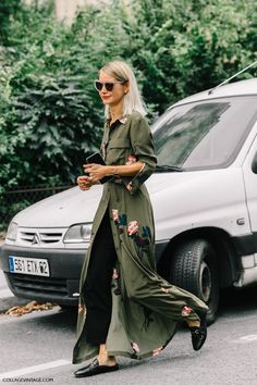 maxi shirt dress, loafers and long bob