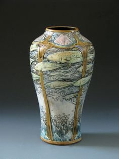 ◭ Penchant for Pottery ◮  CalmWater Designs | Stephanie Young | Art Nouveau | Shoal of Fish