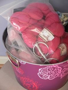 Yarn, waiting for me to knit it up into a purse.  Someday.
