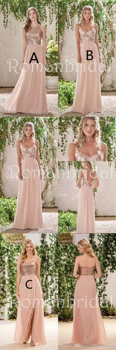 New Rose Gold Bridesmaid Dresses, A Line Spaghetti Straps Backless Wedding Party Dress Sequins, Long elegant Bridesmaid Dresses, BD0408 #bridesmaid dresses #sequins #bridesmaid #dresses #simple #cheap