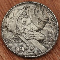"""""""Well I hear ma train acomin'"""" this 1938 nickel depicts a tramp/hobo waiting for his lift. Antique Coins, Old Coins, Indian Skull, Coin Design, Hobo Nickel, Coin Art, Metal Clay Jewelry, Funky Art, Coin Collecting"""