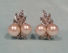 Vintage Earrings Ciro Pearls Ltd. of London. Marked CP in squares ENGLAND. Faux Pearls and Rhinestones.