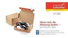 Return® Box CP 069 von #ColomPac®. • #Dinkhauser Kartonagen Vertriebs GmbH, #Selbstklebeverschluss, #Aufreißfaden, #Versandverpackung, #Paket, #Wellpappe, #Modeversand