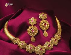 Antique Jewellery Designs, Gold Ring Designs, Gold Bangles Design, Gold Earrings Designs, Gold Jewellery Design, Real Gold Jewelry, Golden Jewelry, Amrapali Jewellery, Necklace Set
