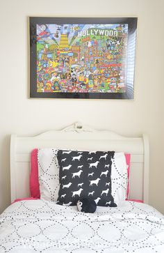 The easiest way to make a throw pillow cover is an envelope pillow - see page for simple tutorial. Oh and did you know the art above the bed is a framed puzzle?