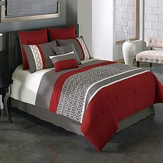 Bring a contemporary look to your bedroom with the Covington 8-Piece Comforter Set. Adorned with an updated geo pattern on a pieced ground, the rich red and grey bedding instantly adds a pop of sophistication to any room's décor.