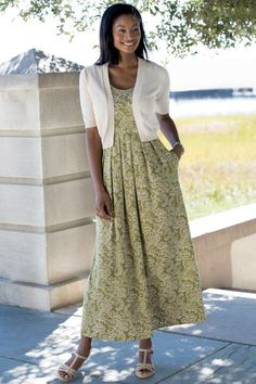 The sandshell Elbow-Sleeve Shrug to go with the cute a-line knit dress in olive floral   Chadwicks of Boston