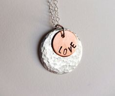 Sterling silver and copper handmade love charm by SilverZoo