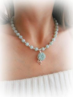 Amazonite flower necklace gemstone beaded necklace amazonite