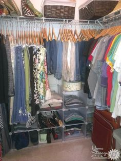 Organized closet shown by a reader, Dawn. The first step in any organization project is to declutter. {featured on Home Storage Solutions 101}