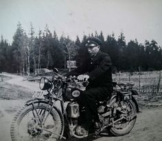My grandfather on his motorcycle. (1931)