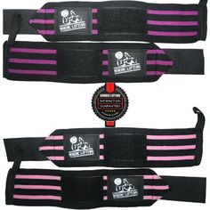 Wrist Wraps (2 Pairs/4 Wraps) for Weightlifting/Crossfit/Powerlifting – For Women & Men – Premium Quality Equipment & Accessories for the Absolutely Best Hand Strength & Wrap Support Possible – Guard & Brace Your Wrists With this Gear to Avoid Injury During Weight Lifting & Cross Fit – (Pink & Purple) – 1 Year Warranty!