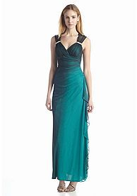 Blondie Nites Sleeveless Ombre Glitter Gown