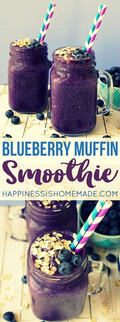 Healthy Blueberry Muffin Smoothie  | This delicious blueberry muffin smoothie is the perfect way to start your day! A healthy on-the-go breakfast that tastes just like your favorite bakery treat!   vi (Paleo Recipes On The Go)