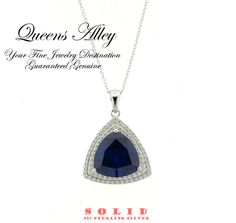 22.61ct Tanzanite 2.26ctw CZ .925 Solid Sterling Silver Pendant Necklace. Starting at $1