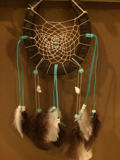 Horseshoe dreamcatcher, cream, turquoise, and brown