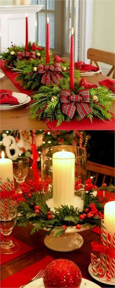 27 Gorgeous DIY Thanksgiving & Christmas Table Decorations & Centerpieces 27 gorgeous & easy DIY Thanksgiving and Christmas table decorations & centerpieces! Most can be made in less than 20 minutes, from things you already have! SAVED BY WENDY SIMMONS Christmas Table Centerpieces, Christmas Table Settings, Christmas Tablescapes, Diy Centerpieces, Holiday Tables, Cheap Christmas, Simple Christmas, Christmas Crafts, Christmas Ornaments