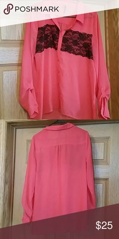 Maurice dark coral blouse Size L maurice coral blouse, worn once beautiful and roomy Maurices Tops