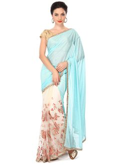 Half and half saree in cream and brown with resham embroidery only on Kalki