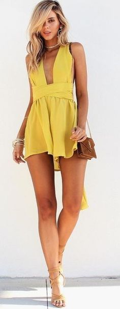 #summer #musthave #outfits | Chartreuse Playsuit