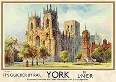 An exciting range of new stylized prints paying homage to our Vintage Advertising Posters, Vintage Travel Posters, Vintage Advertisements, Retro Posters, British Travel, Travel Uk, England Travel Poster, Scarborough England, York Minster