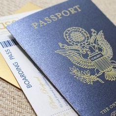 Traditional US Seal White Ink Passport Wedding Invitation (Paradise Island, Bahamas)