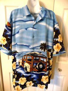 YMLA Resort Wear Hawaiian Shirt XL Woody Car Surfboard Hibiscus Ocean #YMLAResortWear #Hawaiian