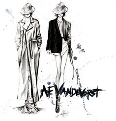 Ann Demeulemeester. Fashion sketch - Nicole Guice
