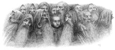Bilbo and the dwarves by Alan Lee