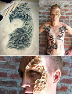 *The Boy with the Dragon Face and the Wicked Tattoos* Blanche Macdonald Makeup Global Makeup student Jenny Tseng shows us the beauty in the process with her sculptural prosthetic piece and killer faux-inked work for her Prosthetic Final!