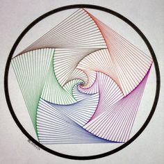 Cool Art Projects, Yarn Projects, Corel Draw Tutorial, Arte Linear, String Art Patterns, Math Art, Geometry Art, Paper Embroidery, Illusion Art