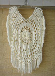 Boho Hippie Fringe Festival Crochet Sleeveless Women Blouse Ivory