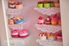 Quilled miniature cupcakes in a frame
