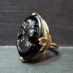 Big Vintage Cameo Ring  Art Deco Ring  Black  by WickedDarling, $95.00