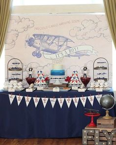 Vintage Aviation themed baby shower by www.ashleighnicoleevents.com
