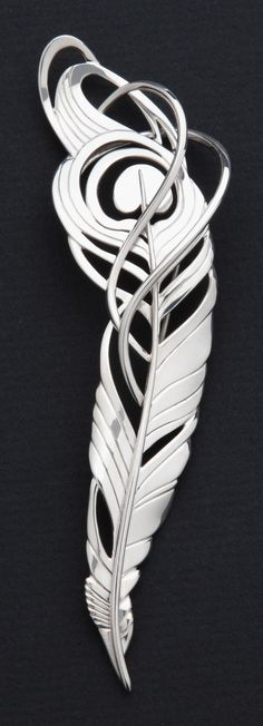 Sterling silver Peacock feather brooch, five inches tall (approx). Copyright Robyn Nichols