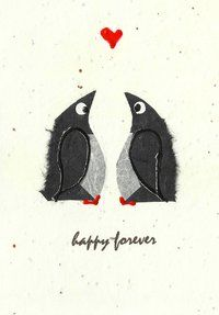Penguins mate for life this cute couple personify all that we could wish for an engagement, wedding, or anniversary.
