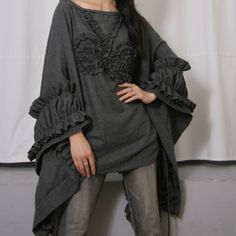 Dark Grey Gray Pure Wool Batwing Cape Poncho Cloak Victorian Bolero Coat *The model is in a plus size poncho. Black Linen, Black Cotton, Wool Cape, Bat Wings, Cloak, Dark Grey, Gray, Cotton Linen, Mantel