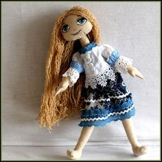 Mania cloth doll muñeca de trapo ткань кукла by USZYTKI on Etsy